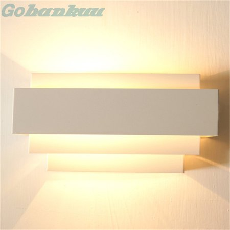 Contemporary Indoor Up & Down Wall Light Curved White Square Lighting Lamp - image 2 de 6