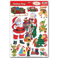 """Club Pack of 132 Assorted Santa's Workshop Window Clings Christmas Decorations 17"""""""