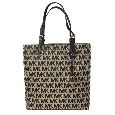 Beige Tote (Michael Kors Signature Jacquard North South Tote - Beige and Black )