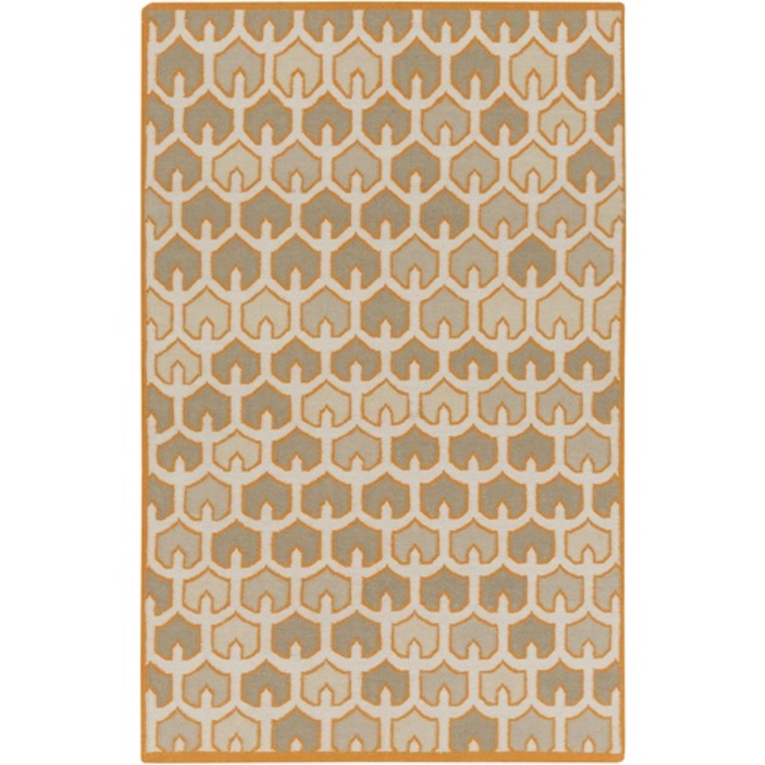 2' x 3' Bohemian Frame Burnt Orange, Stone Gray and Taupe Hand Woven Shed-Free Wool Area Throw Rug