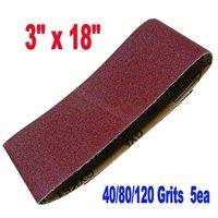 "MTP Brand 15X 3x18"" Assorted 40/80/120 Grits Sanding Belts Aluminium Oxide Sander Abrasive 75x457mm for Makita Black and Decker"