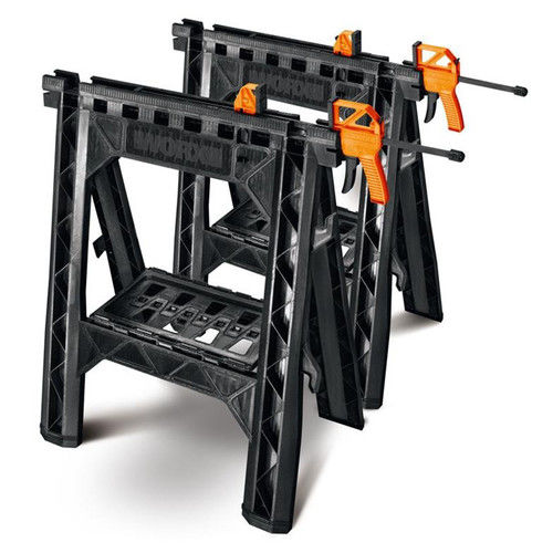 Clamping Sawhorses, pair with 2 clamps WX065 by Positec Technology