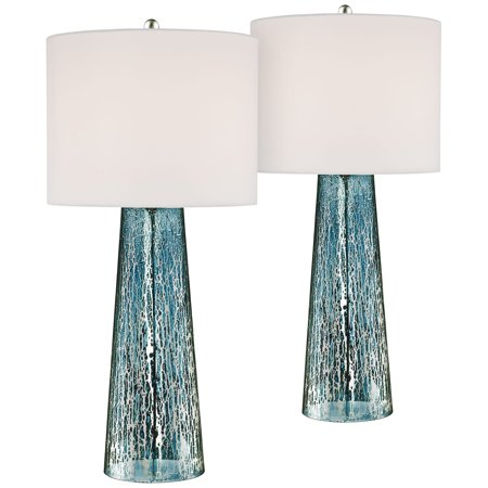 360 Lighting Coastal Table Lamps Set of 2 Blue Mercury Glass Tapered Column White Drum Shade for Living Room Family Bedroom