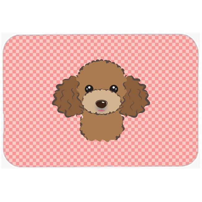 Checkerboard Pink Chocolate Brown Poodle Mouse Pad, Hot Pad Or Trivet, 7.75 x 9.25 In.