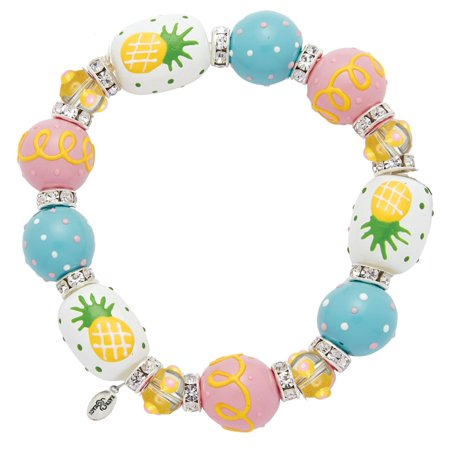 Posh Pineapple Rhinestone Glass Beaded Kate and Macy Stretch Bracelet