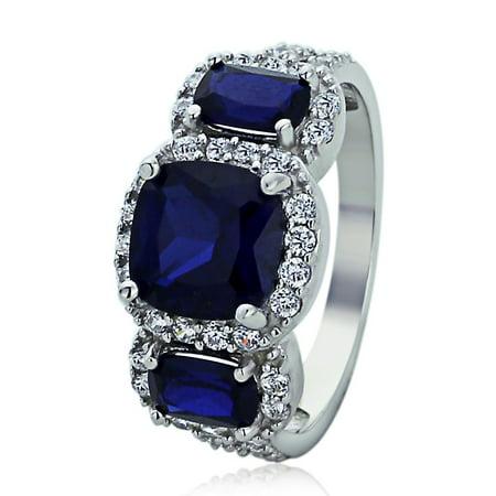 Sterling Silver Engagement Ring CZ Cushion Cut Blue CZ Three Stone Shape Ring