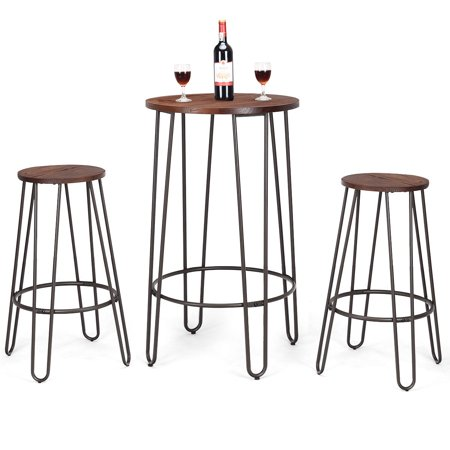 Gymax 3pc Pub Set Bar Wood Round Table Height Counter