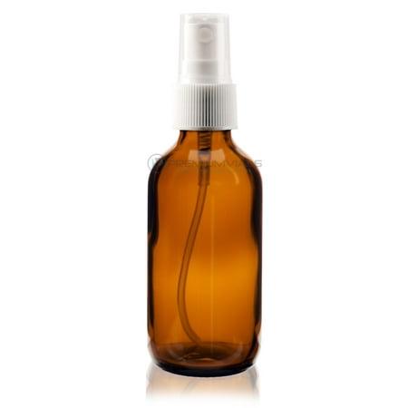 2 oz AMBER Boston Round Glass Bottle - w/White Fine Mist Sprayer - pack of 6 ()
