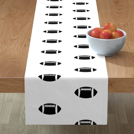Image of Table Runner Football Sports Black And White Black White Mod Baby Cotton Sateen