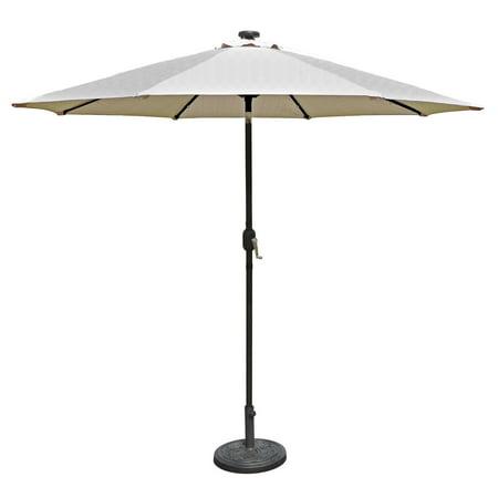 Island Umbrella Mirage Fiesta 9-ft Octagonal Market Umbrella with Solar LED Lights