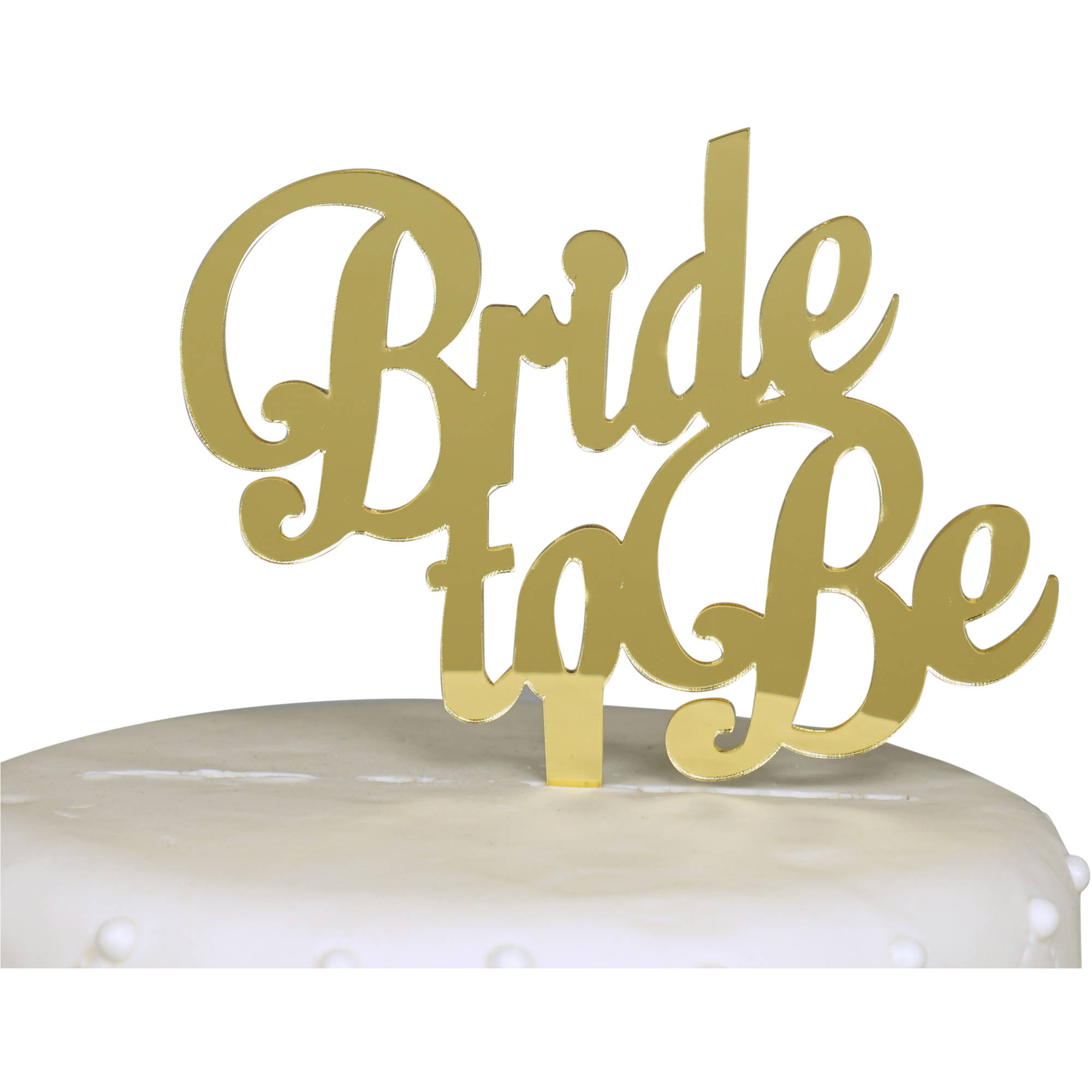 Bride to Be Bachelorette Party Cake Topper, Gold Mirror