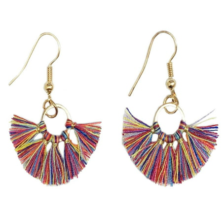 Women Bohemian Mini Fringe Tassels Gold Statement Hanging Earrings (Multi)