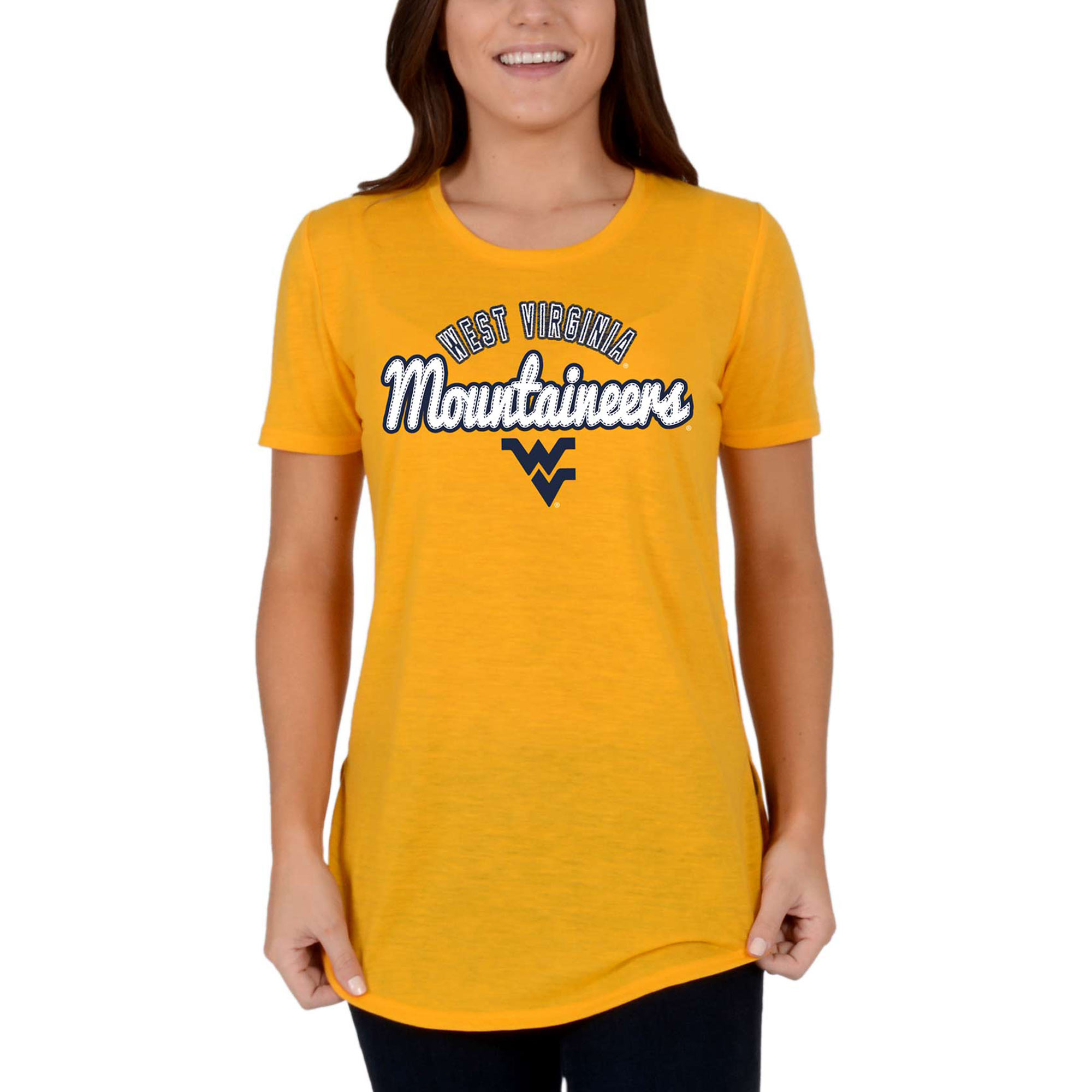 Women's Gold West Virginia Mountaineers Faux Stitch V-Neck T-Shirt