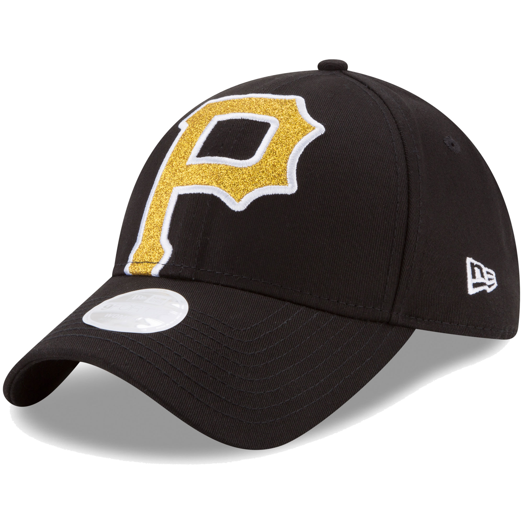Pittsburgh Pirates New Era Women's Glitter Glam Team 9FORTY Adjustable Hat - Black - OSFA