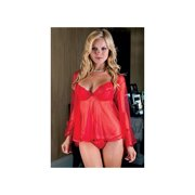 Red Sheer Mesh Babydoll Red