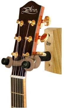 Wood Guitar Wall Hanger, CHERRY, Yoke pivots to cradle the guitar's headstock By String... by