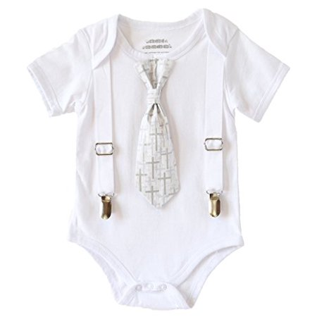 Noah's Boytique Baby Boys Baptism Christening Suit White Cross Tie Outfit 0-3 Months