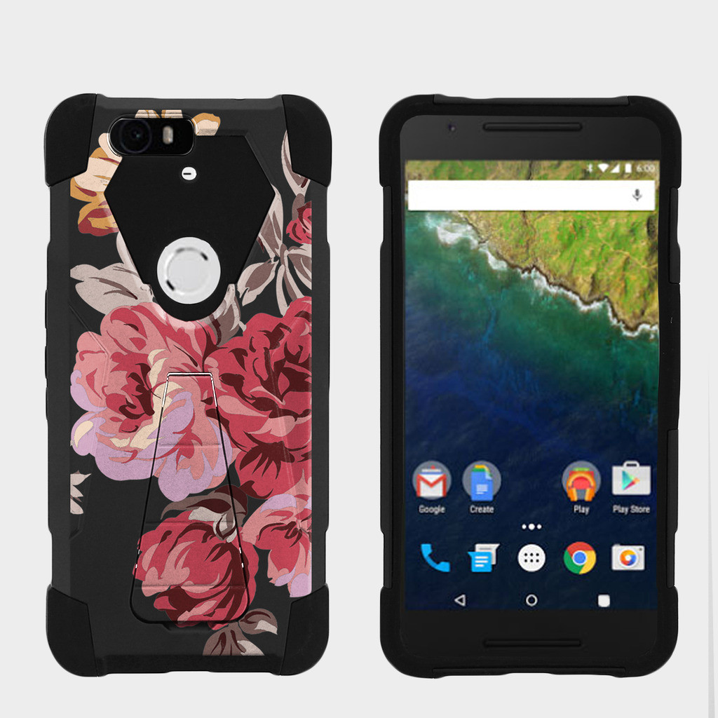 Case for Huawei Nexus 6P | Nexus 6P Hybrid Cover [ Shock Fusion ] High Impact Shock Resistant Shell Case + Kickstand - Autumn Flowers