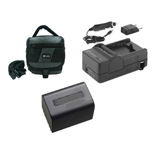 Sony HDR-CX360V Camcorder Accessory Kit includes: SDM-109 Charger, SDC-27 Case, SDNPFV70NEW Battery