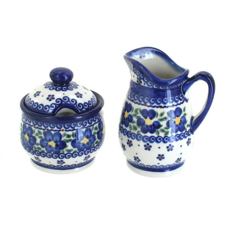 Blossom Time Sugar Bowl - Blue Rose Polish Pottery Spring Blossom Cream & Sugar Set