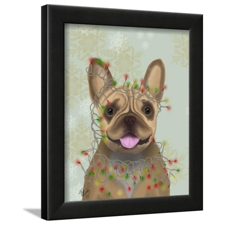 French Bulldog, Christmas Lights 1 Framed Print Wall Art By Fab Funky