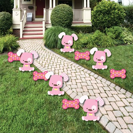 Girl puppy dog lawn decorations outdoor baby shower or for Backyard baby shower decoration ideas