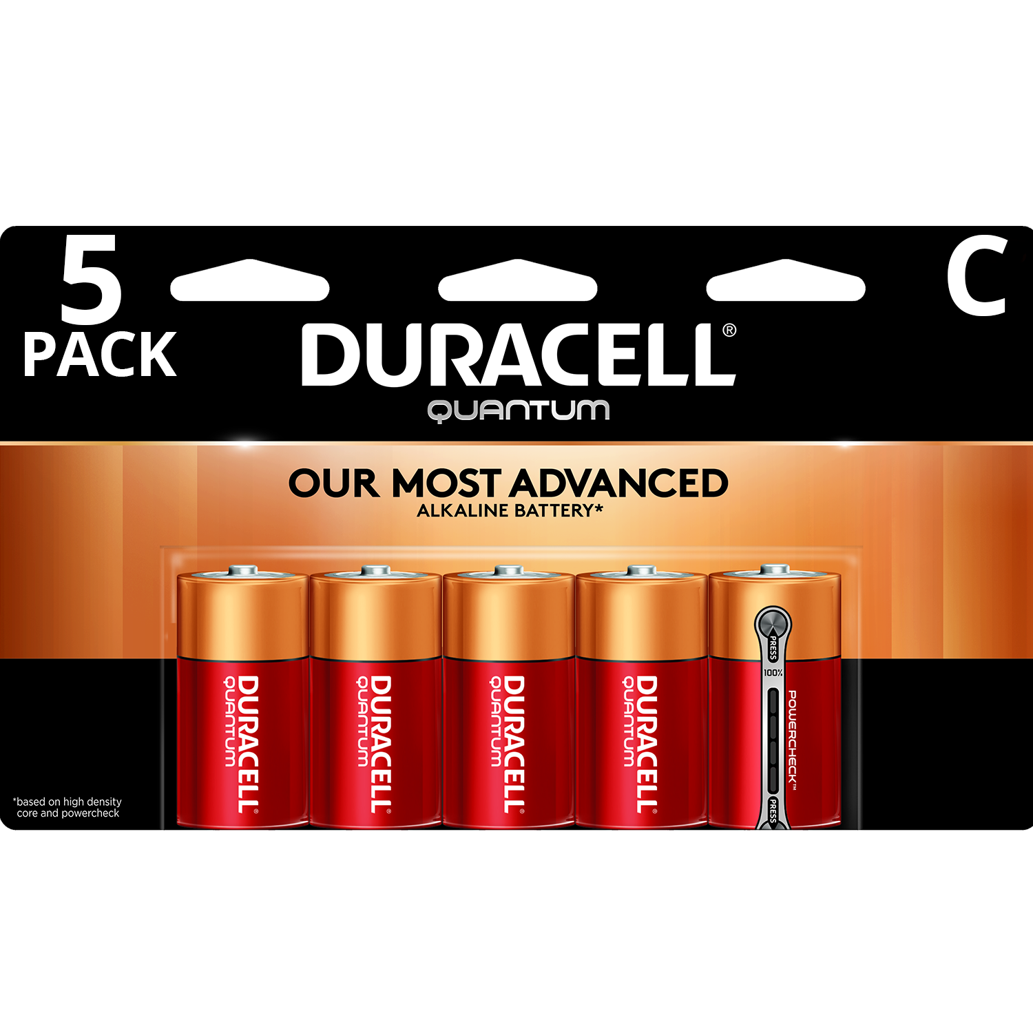 Duracell 1.5V Quantum Alkaline C Batteries with PowerCheck 5 Pack