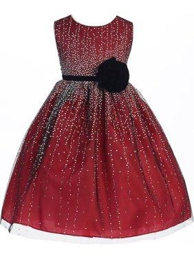 03a184b72a6f Product Image Crayon Kids Girls Red Velvet Flower Sash Sequin Dress 7/8.  Christmas