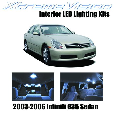 XtremeVision LED for Infiniti G35 Sedan 2003-2006 (7 Pieces) Cool White Premium Interior LED Kit Package + Installation (Sedan Tools)