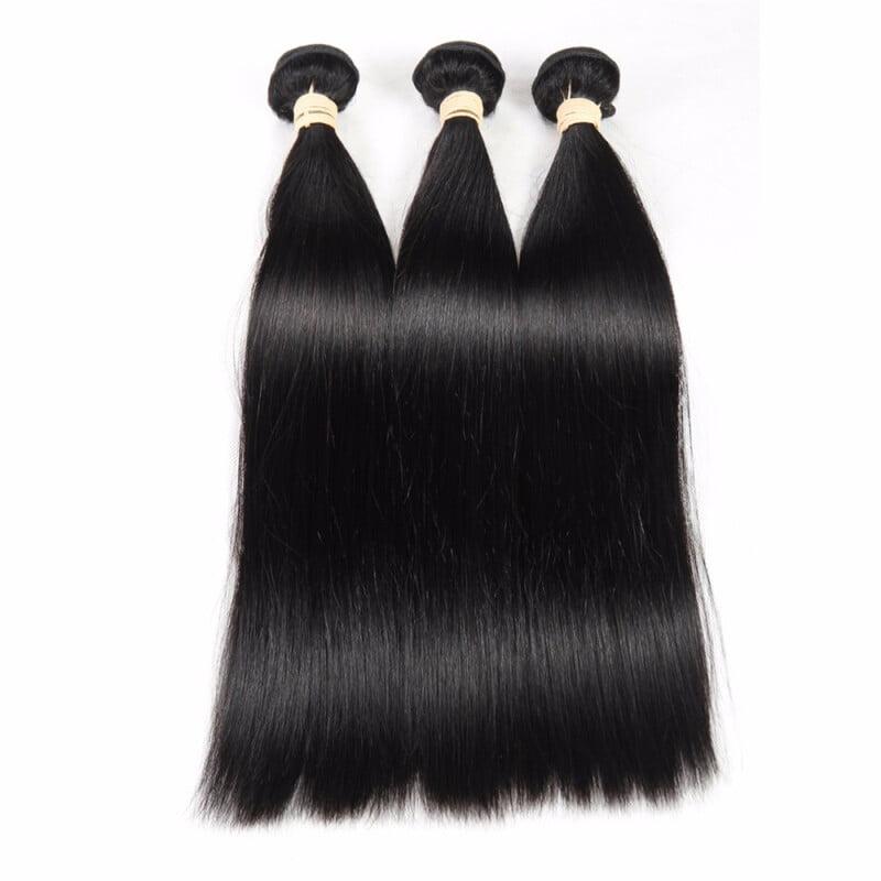 "HCDIVA Peruvian Virgin Hair Straight 3 Bundles / Lot Natural Color Unprocessed Human Hair Extensions Weaving,08""10""12"""