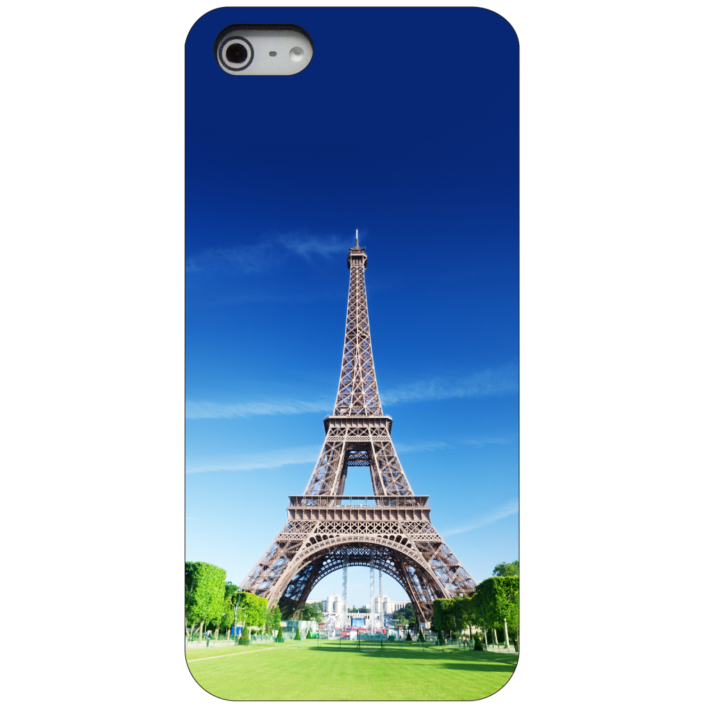 CUSTOM Black Hard Plastic Snap-On Case for Apple iPhone 5 / 5S / SE - Eiffel Tower Paris