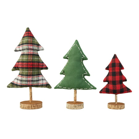 Holiday Time Fabric Table Top Tree Christmas Decorations, Set of 3 ()