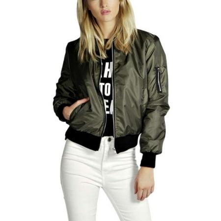 Womens Classic Bomber Jacket Vintage Zip up Biker