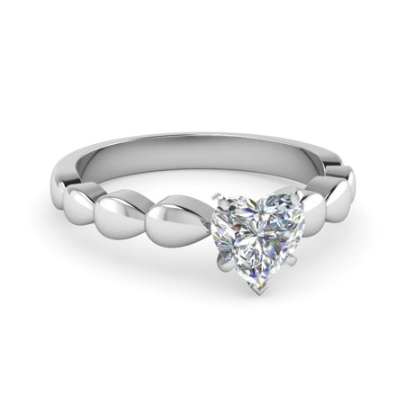 Solitaire Unique Engagement Ring For Women 0.40 Carat Heart Shaped Natural Untreated Diamond In 14K White Gold GIA Certified