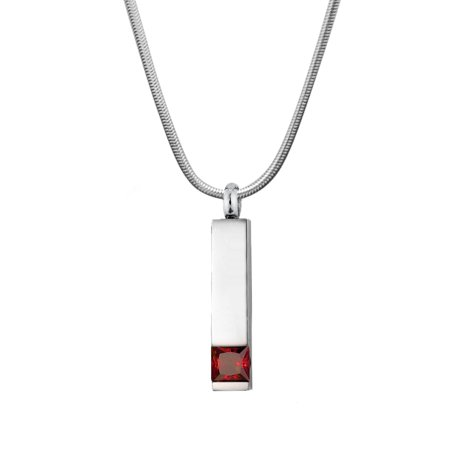 Cremation Jewelry Memorial Birthstone Bar Necklace Handcrafted Waterproof Human Ashes Urn Container with Free Funnel Kit and Velvet Jewelry Box [Jan] ()