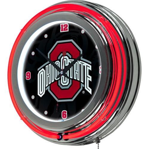 Ohio State Shadow Brutus Chrome Double Ring Neon Clock