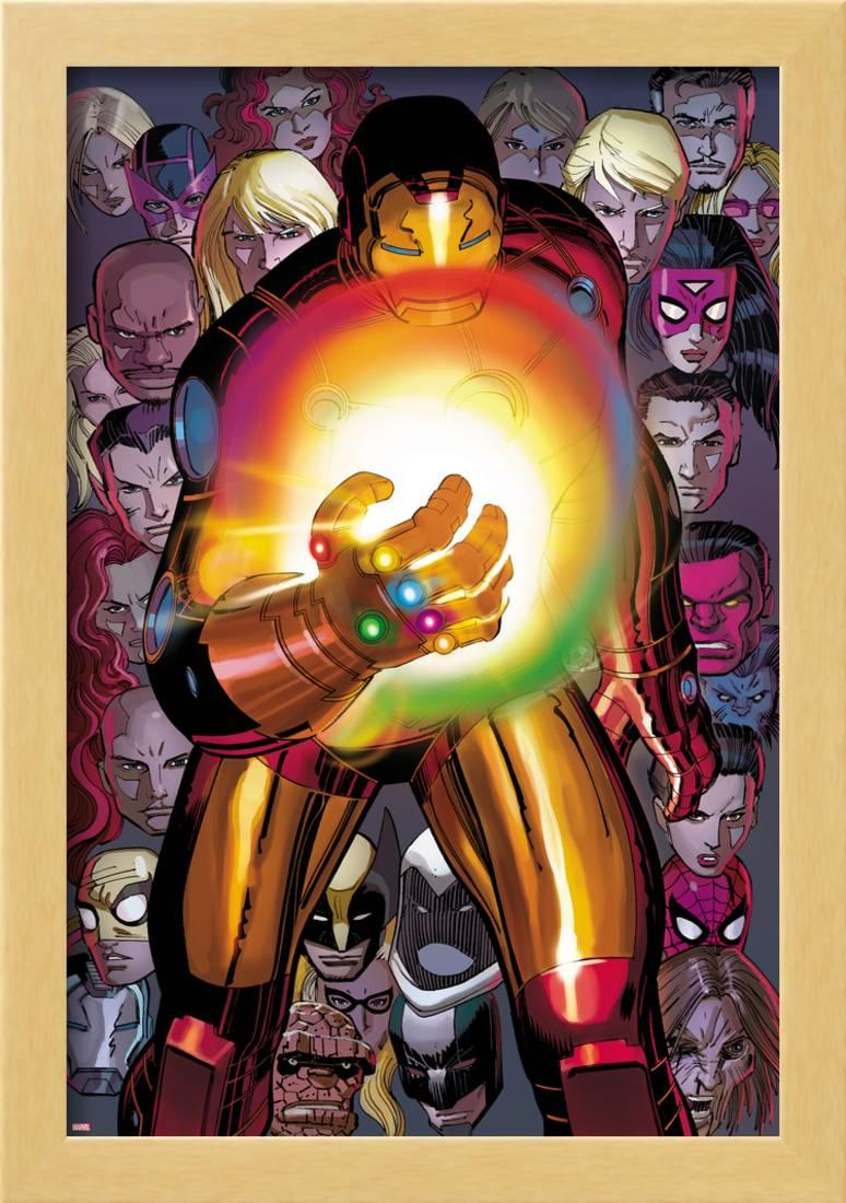 Avengers No 12: Iron Man with the Infinity Gauntlet Framed Poster Wall Art  By John Romita Jr