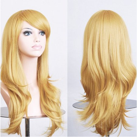 Anime Cosplay Synthetic Full Wig with Bangs for Women Girls 23'' Long Layered Wave Japanese Kanekalon Heat Resistant Fiber 19 Colors (golden blonde) By Lady Fashion Mall