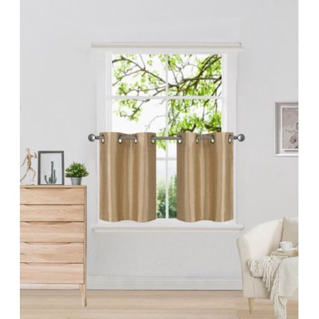N29 Gold 2-Piece SemiSheer Plain Tier Curtains for Small Windows, Eyelet Top Lined Window Treatment Panels 60