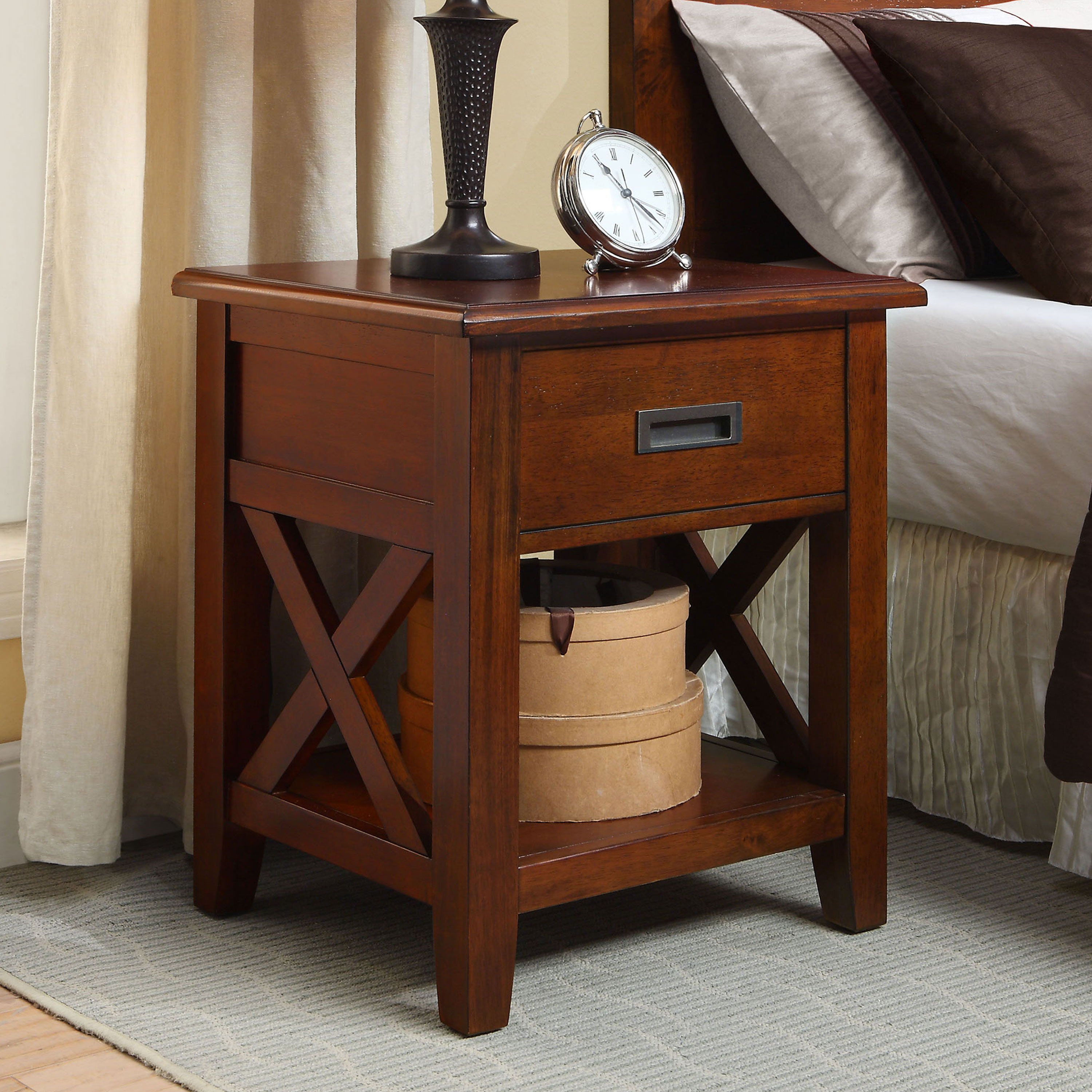 Better Homes & Gardens Maddox Crossing Nightstand, Warm Brown Finish