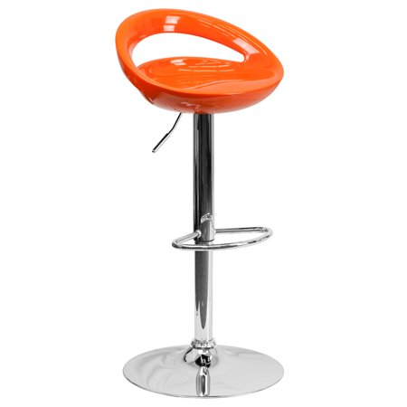 Flash Furniture Contemporary Plastic Adjustable Height Barstool with Chrome Base, Multiple Colors ()