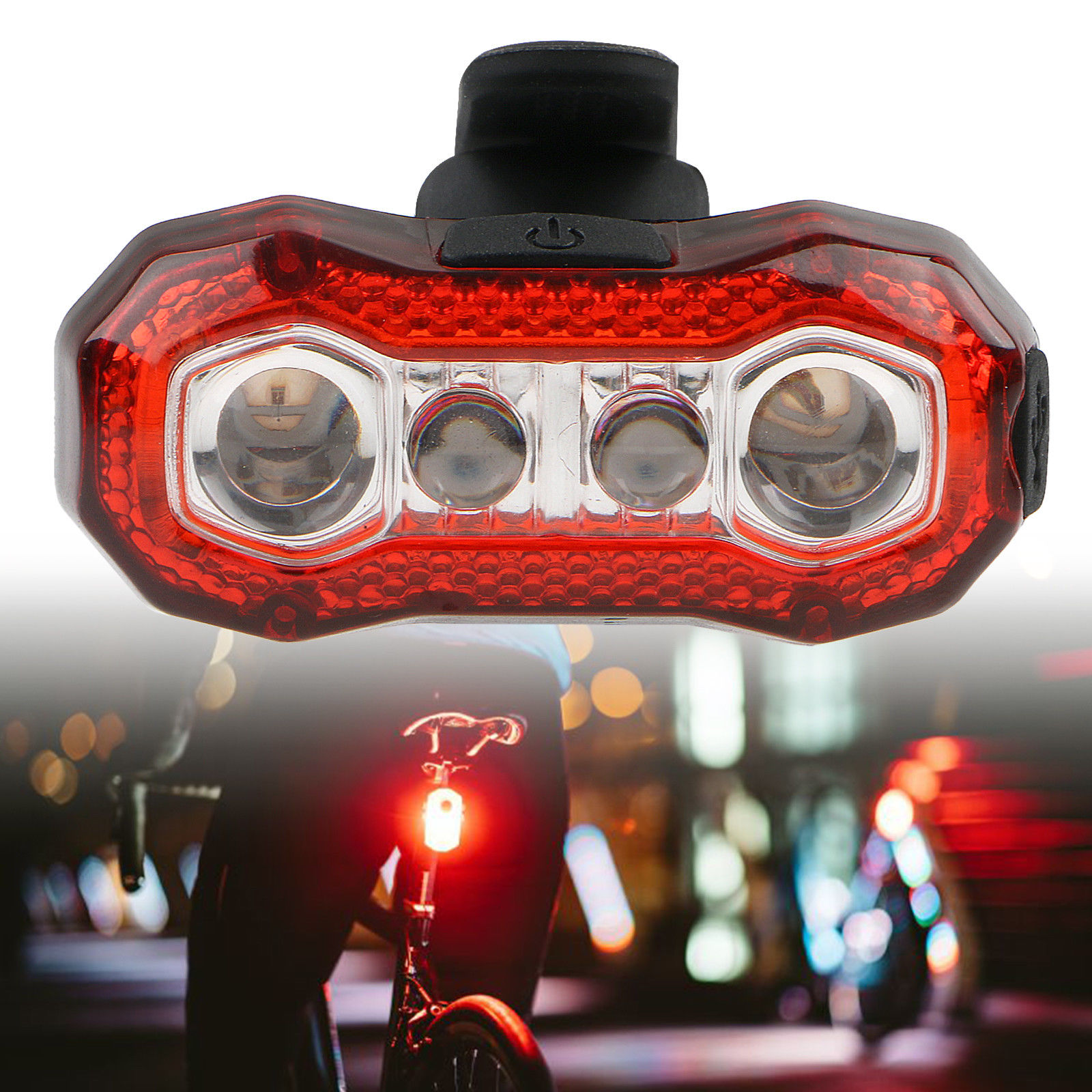 EEEKit 4-LEDs Bicycle Tail Light, 5 Modes Bicycle Bike Cycling Rear Tail Bicicleta Tail Light Safty Warning Light LED Bike Accessories