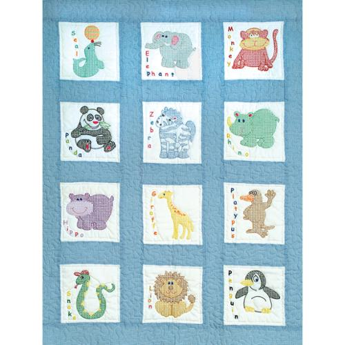 "Stamped White Nursery Quilt Blocks 9""X9"" 12/Pkg-Zoo Animals"
