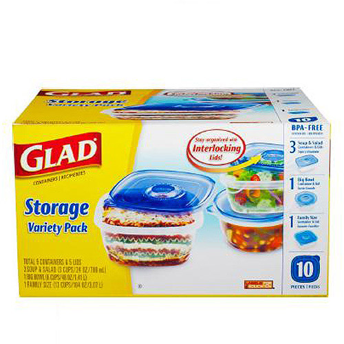 Glad Plastic Containers Variety Pack, 10 count