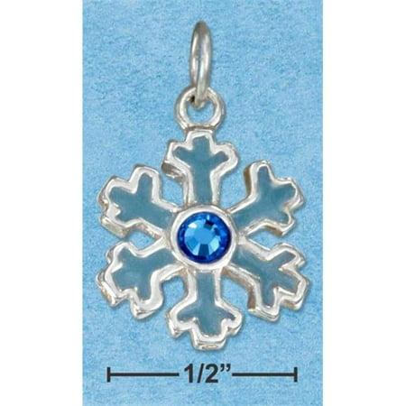 Enamel Snowflake Charm - Sterling Silver Enamel Blue Snowflake Charm with Blue Crystal