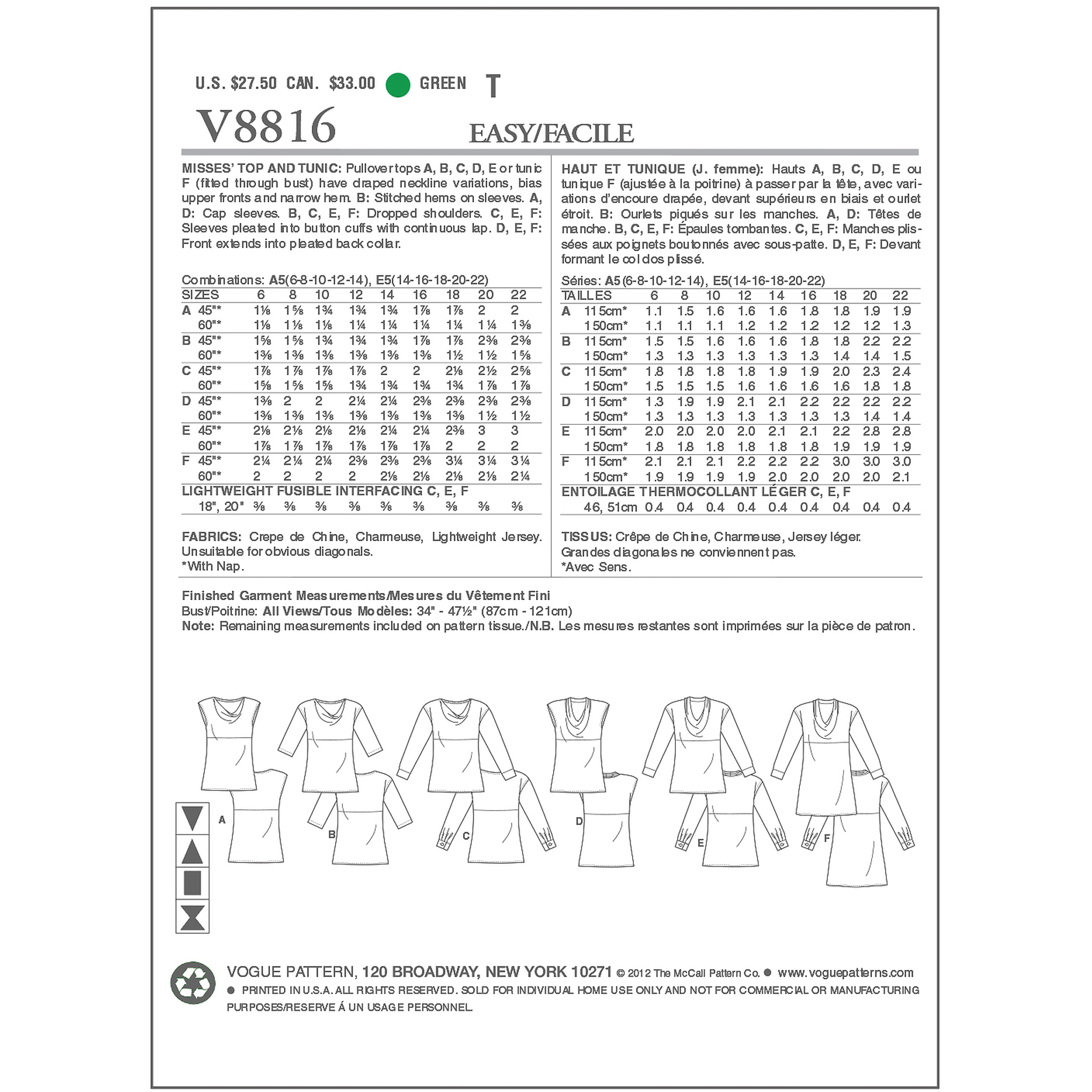 Vogue Pattern Misses' Top, F5 (16, 18, 20, 22, 24)