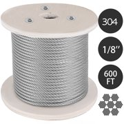 VEVOR 304 Stainless Steel Cable 1/8 Inch 7 X 19 Steel Wire Rope 600Feet Steel Cable for Railing Decking DIY Balustrade(1/8 Inch-600Feet)