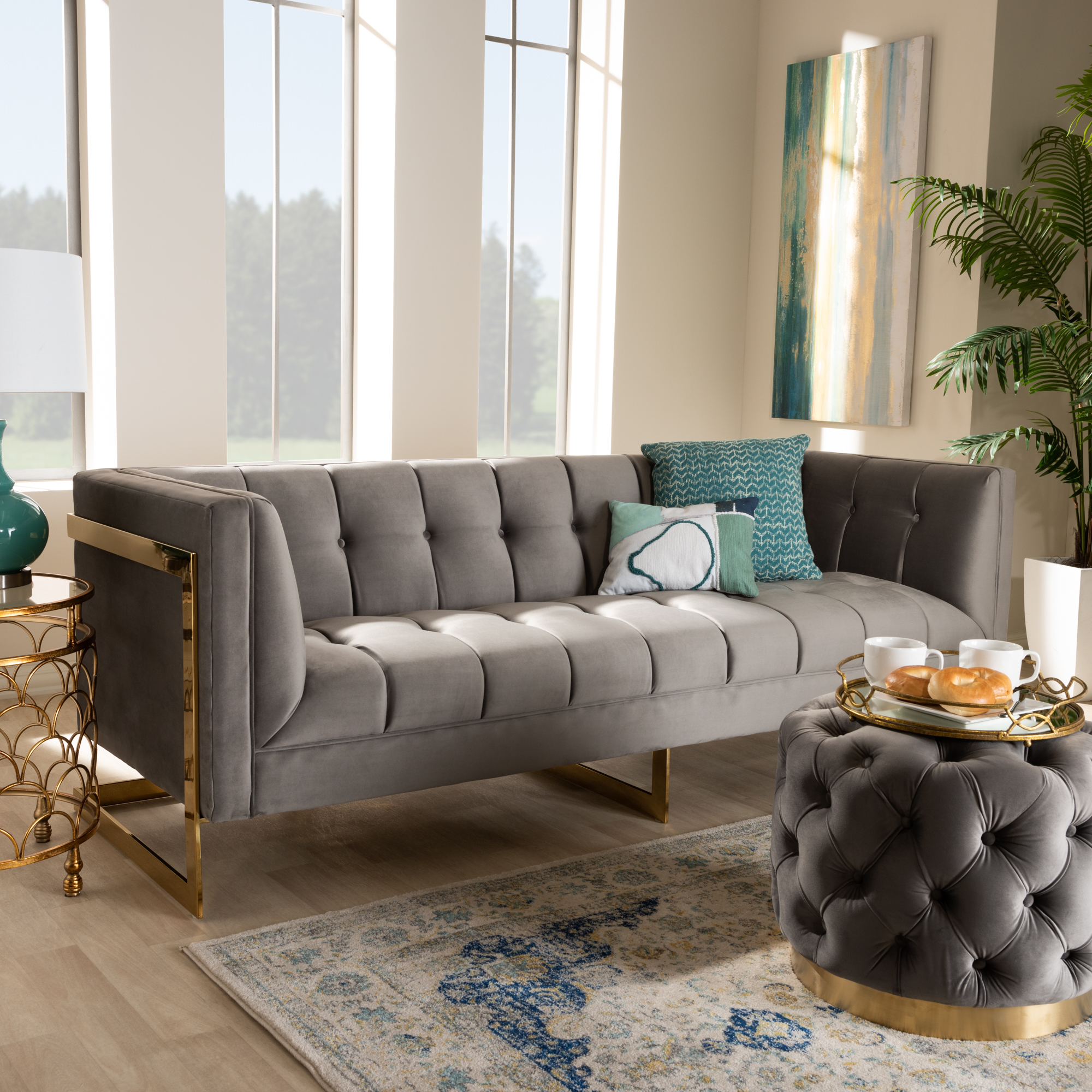 Picture of: Baxton Studio Ambra Glam And Luxe Grey Velvet Fabric Upholstered And Button Tufted Sofa With Gold Tone Frame Walmart Com Walmart Com