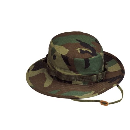 Woodland Camouflage Boonie Hat in Rip-Stop Cloth