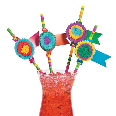 Fun Express Fiesta Party Paper Straws - 24 pieces - Fun Straws